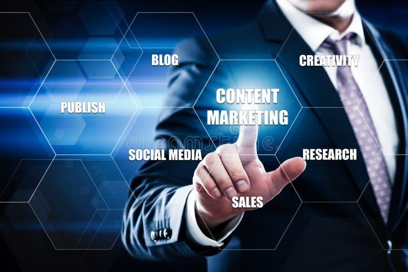 Содержимая концепция интернета технологии дела маркетинговой стратегии стоковое изображение rf
