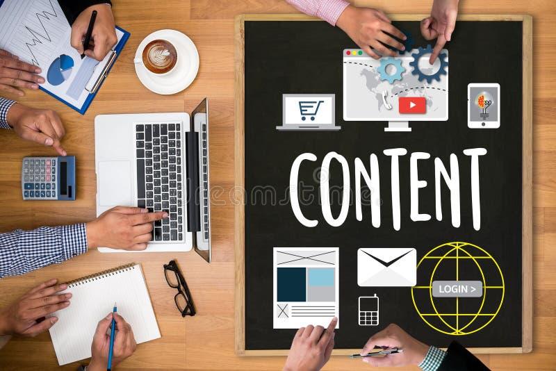 Содержимый маркетинг, онлайн концепция, средства массовой информации содержимых данных Blogging стоковая фотография rf