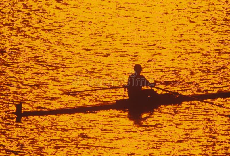 Солитарный Rower на заходе солнца на Потомаке, Вашингтоне, d C стоковые изображения