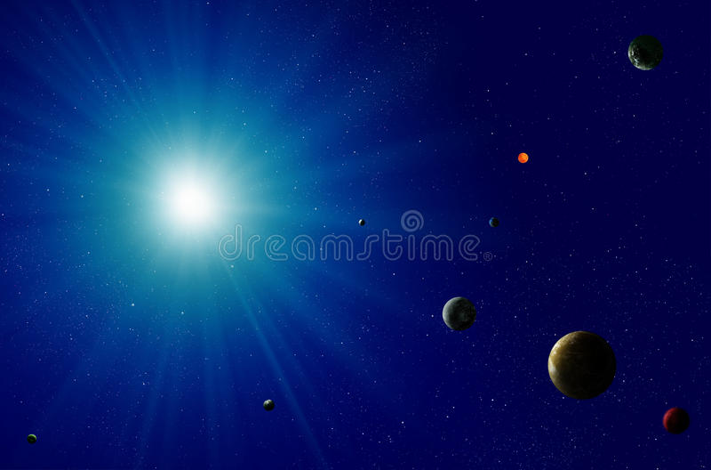 Солнечная система голубой звезды иллюстрация вектора