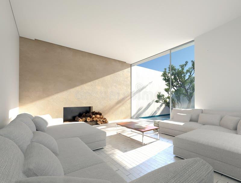 Солнечная среднеземноморская живущая комната бесплатная иллюстрация