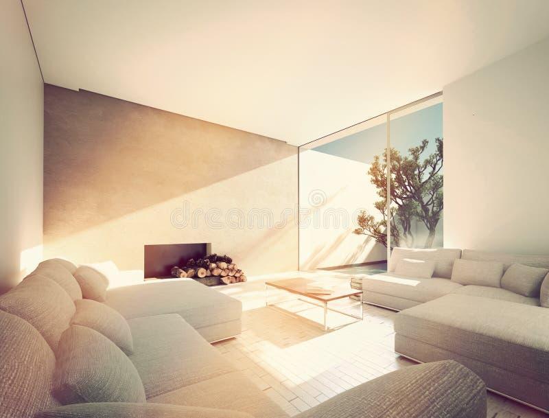 Солнечная среднеземноморская живущая комната иллюстрация штока