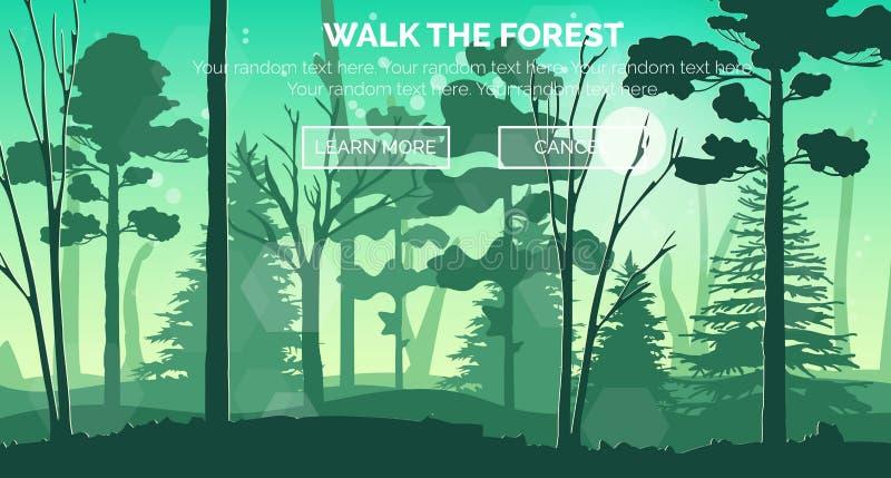 Солнечная сцена леса утра, вид с воздуха иллюстрация вектора