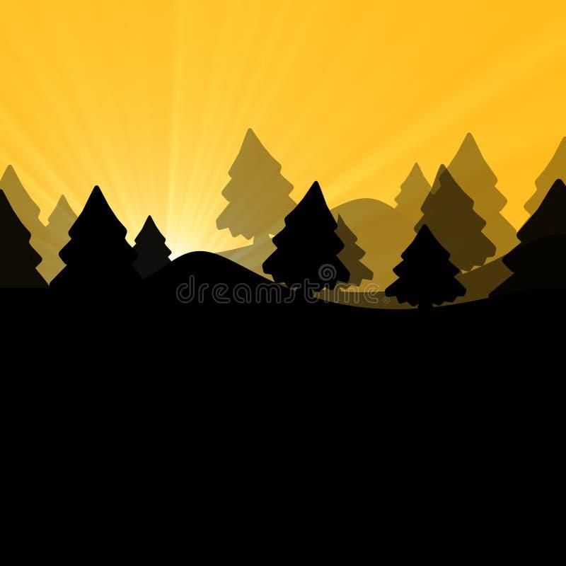 солнечний свет дуба пущи конструкции граници предпосылки осени жолудей иллюстрация штока