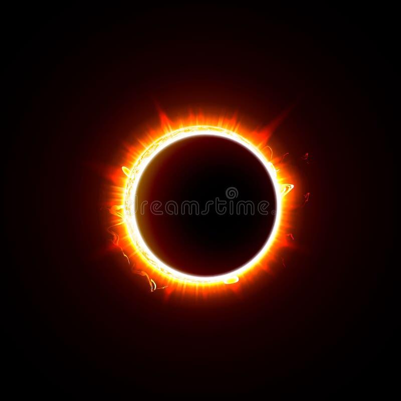 Солнечное затмение на черной иллюстрации вектора предпосылки Солнце в тени изображения луны иллюстрация вектора