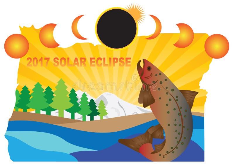 Солнечное затмение 2017 через иллюстрацию вектора карты Орегона иллюстрация вектора