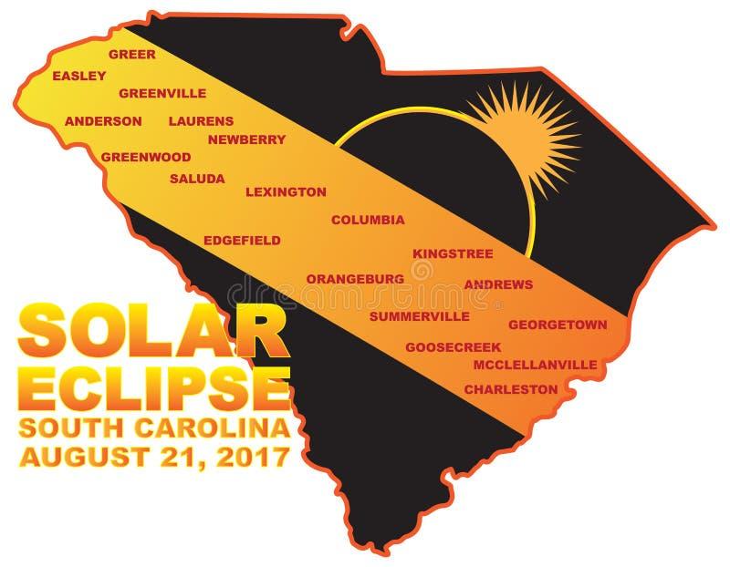Солнечное затмение 2017 через иллюстрацию карты городов Южной Каролины иллюстрация вектора
