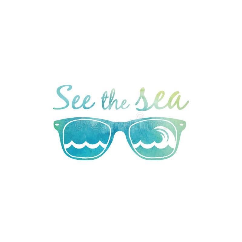 Солнечные очки акварели наблюдая море стоковое изображение rf