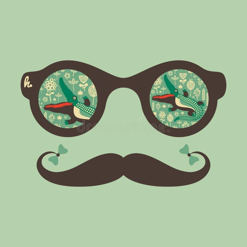 Солнечные очки битника винтажные с крокодилом и цветками иллюстрация штока