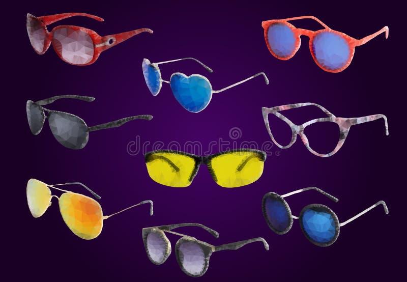Солнечные очки нарисованные в стиле полигона иллюстрация штока