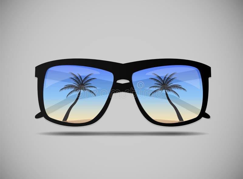 Солнечные очки с иллюстрацией вектора пальмы иллюстрация вектора