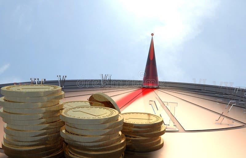 Солнечный вахта с золотой монеткой и ясными номерами иллюстрация штока