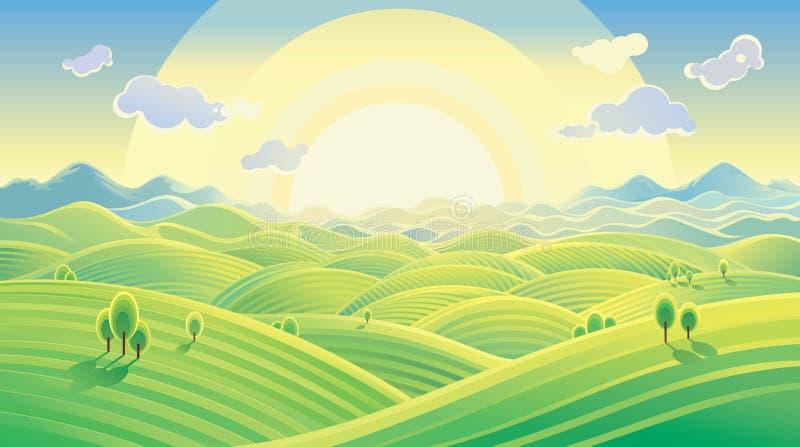 Солнечный холмистый ландшафт иллюстрация вектора