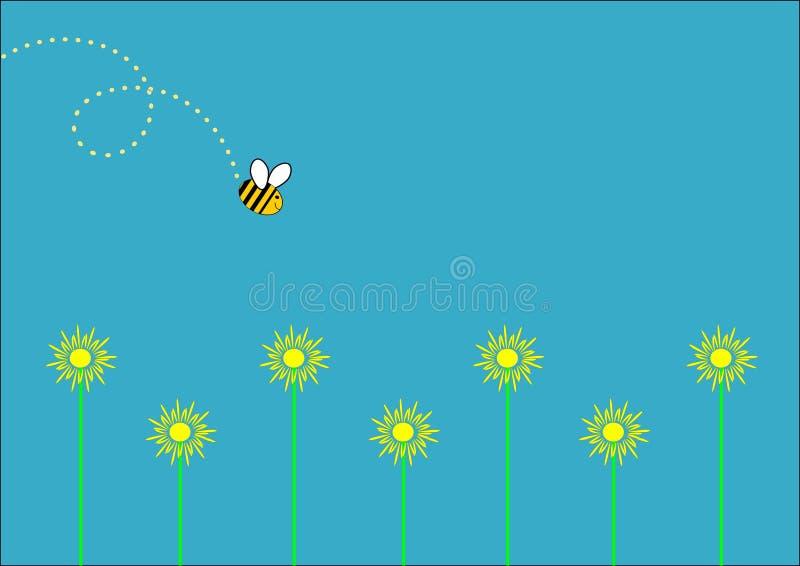 Солнцецветы и пчела стоковое фото