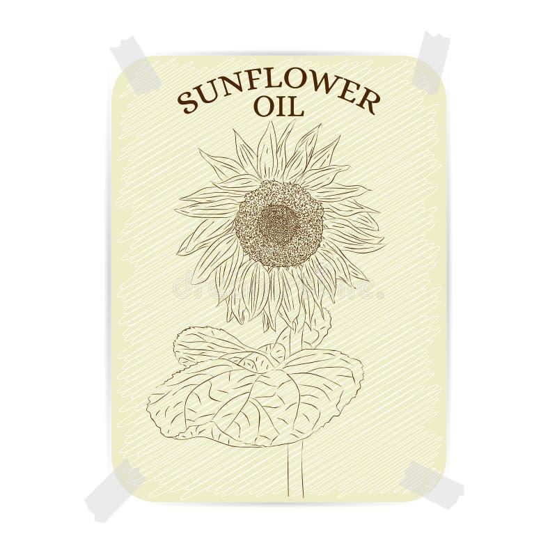 Солнцецвет Винтажное подсолнечное масло ярлыка текстурированная бумага иллюстрация вектора