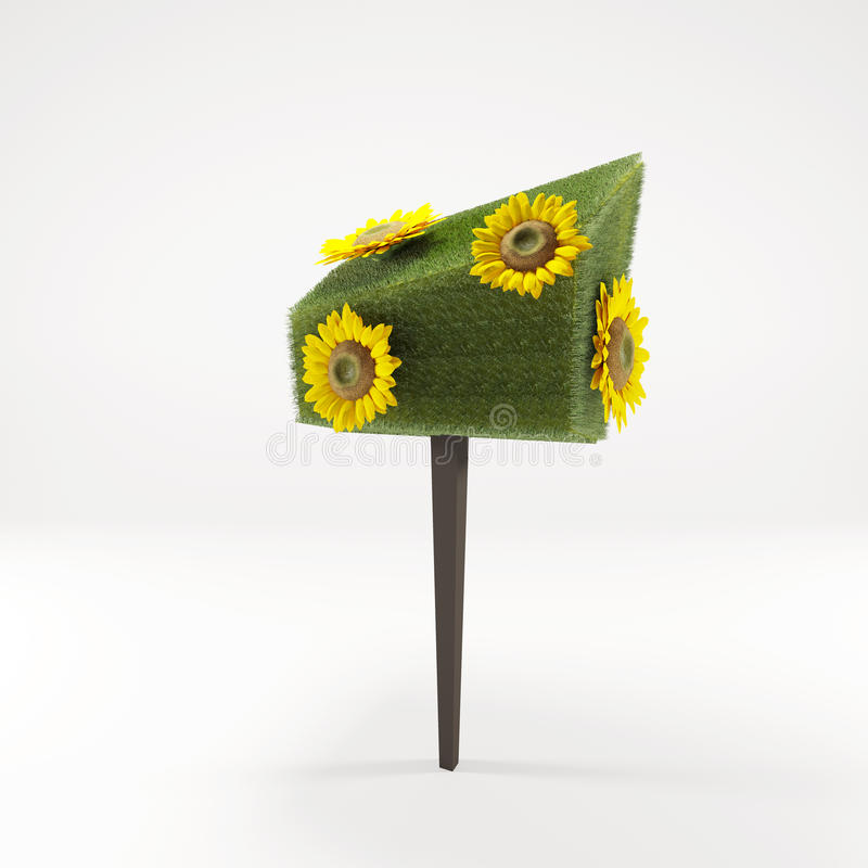 Солнцецвет желтого цвета 3 d стоковое изображение