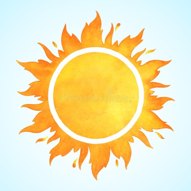 Солнце вектора акварели с кроной иллюстрация вектора
