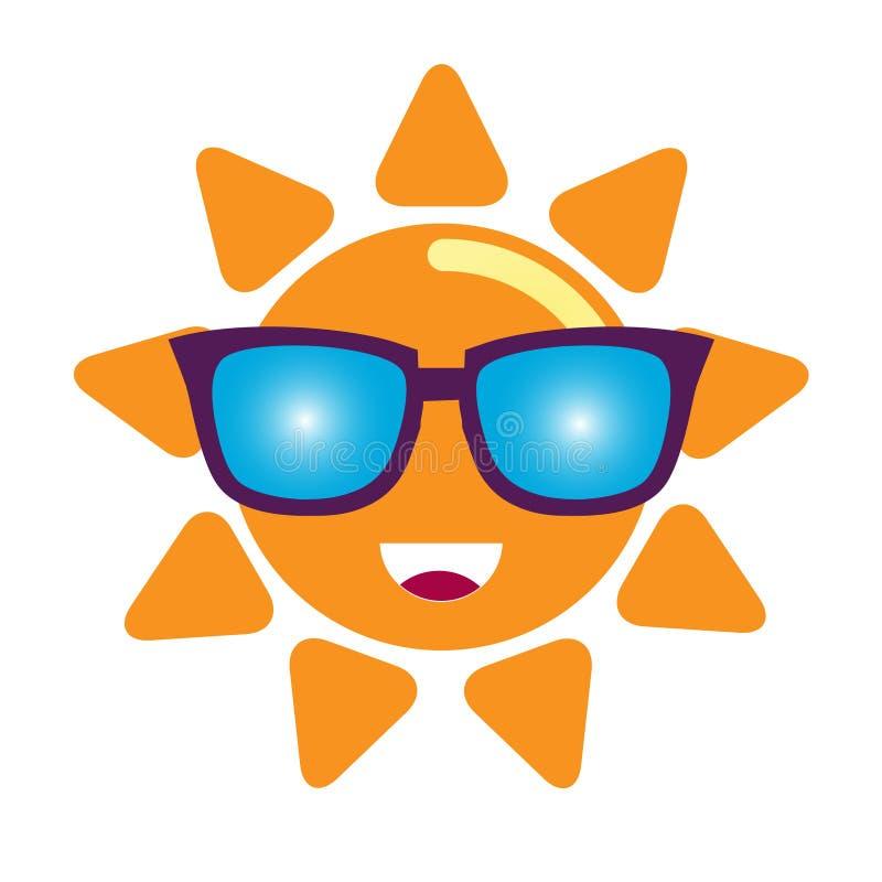 Солнце в характере солнечных очков Vector иллюстрация, значок, изолированный элемент дизайна, стикер иллюстрация штока