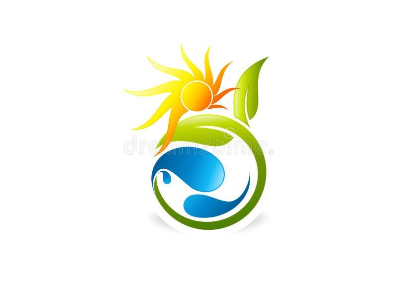 Солнце, завод, люди, вода, естественное, логотип, значок, здоровье, лист, ботаника, экологичность и символ иллюстрация штока