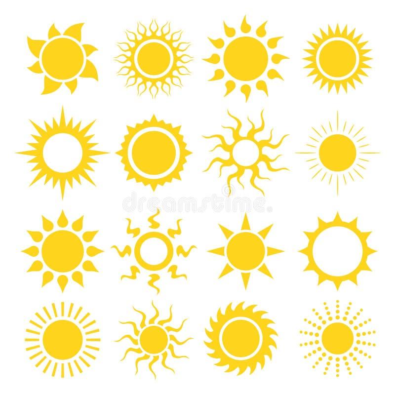 солнце иконы элементов конструкции установленное иллюстрация вектора