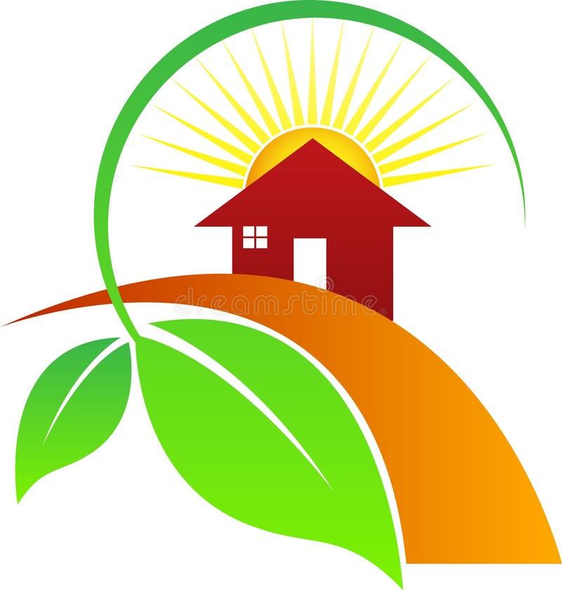 Солнце лист дома иллюстрация штока