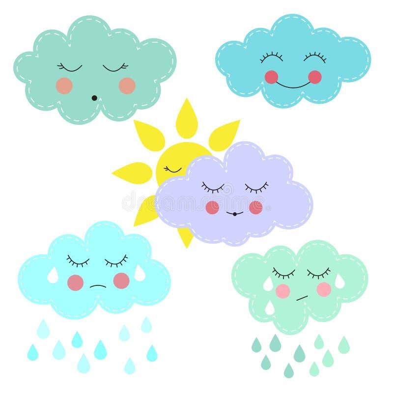 солнце и облака шаржа бесплатная иллюстрация