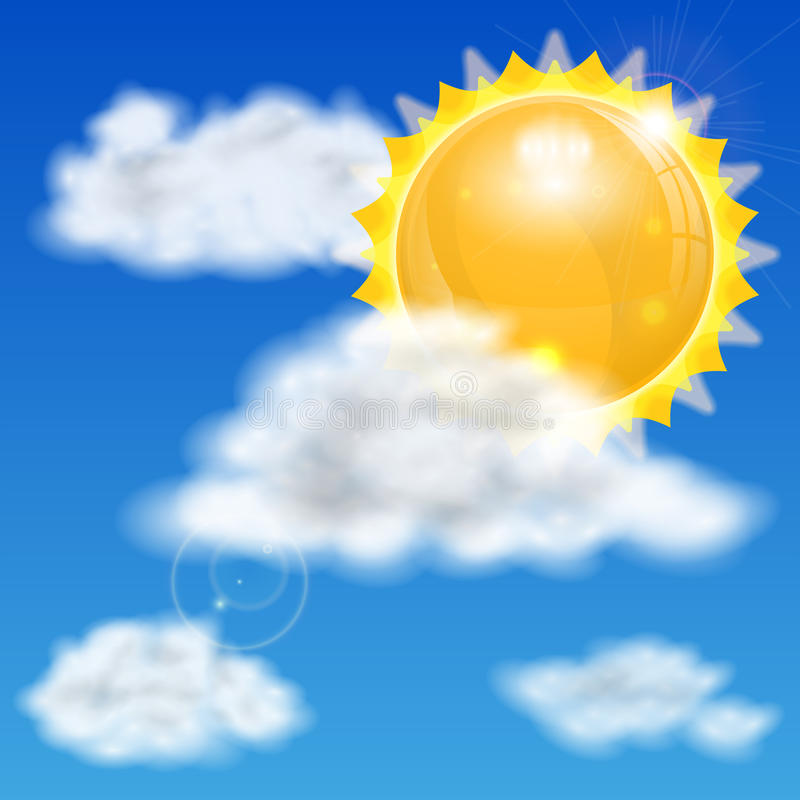 Солнце и облака иллюстрация штока