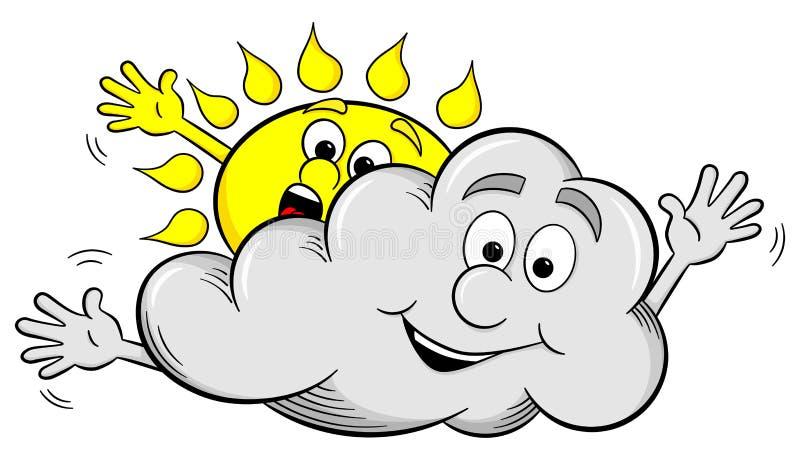 Солнце и облако шаржа делают небо overcast бесплатная иллюстрация