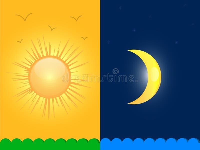 Солнце и луна иллюстрация вектора