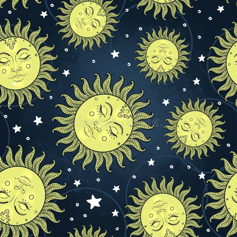 Солнце и луна vector безшовная картина с звездами сбор винограда типа лилии иллюстрации красный иллюстрация штока