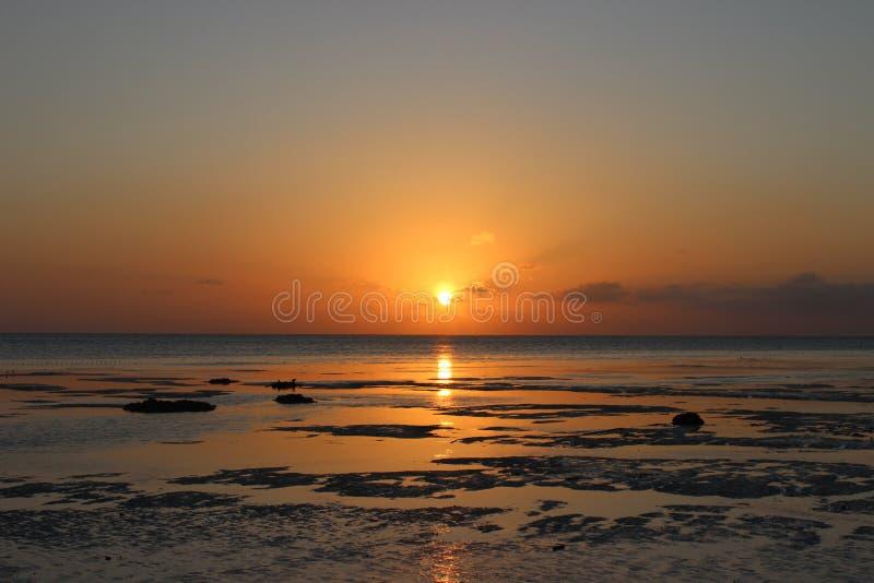 Солнце на береге после шторма стоковые изображения rf