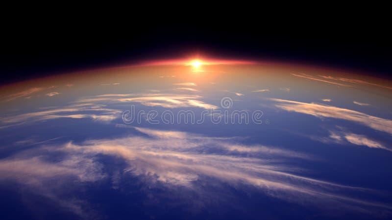 Солнце на горизонте мира от перспективы космоса стоковое фото rf