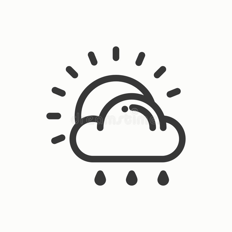 Солнце, облако, линия простой значок дождя Символы погоды метеорология Элемент дизайна прогноза Шаблон для передвижного app, сети иллюстрация вектора