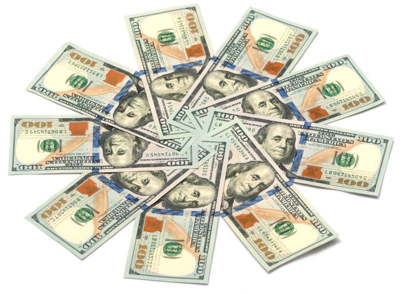 Солнце долларовых банкнот стоковая фотография