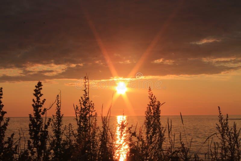Солнце поднимая над спокойным океаном стоковое изображение rf