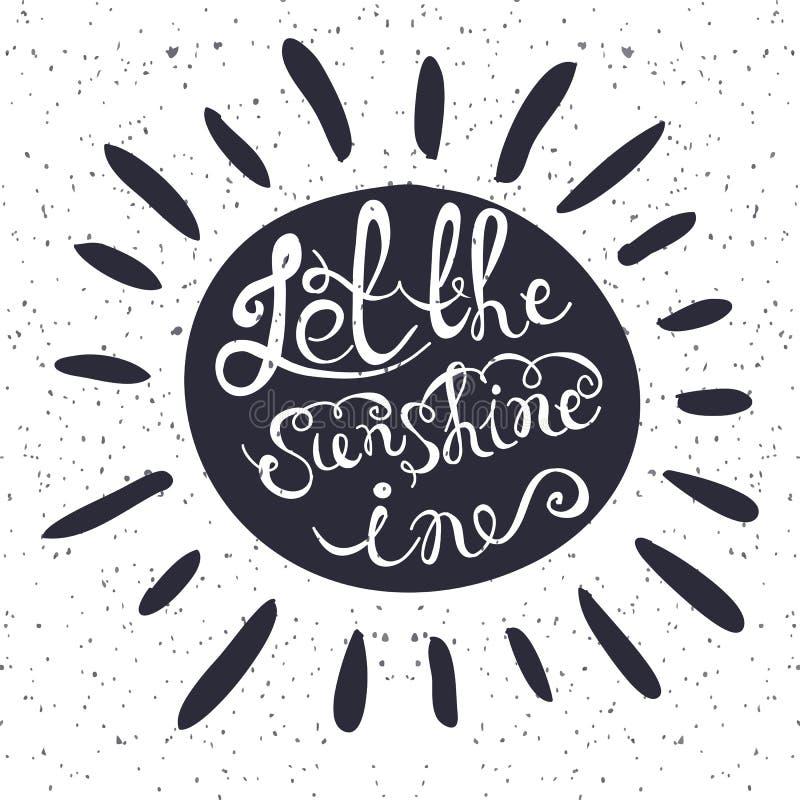 Солнце с нарисованным рукой плакатом оформления Романтичная цитата бесплатная иллюстрация