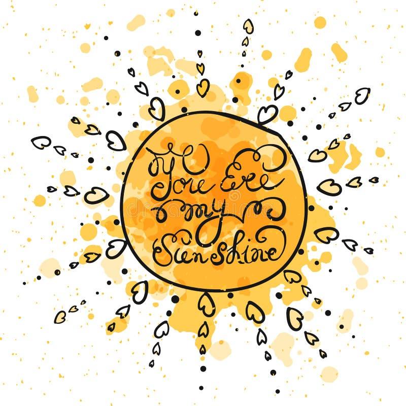 Солнце с нарисованным рукой плакатом оформления бесплатная иллюстрация