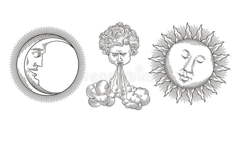 Солнце, луна, ветер иллюстрация вектора
