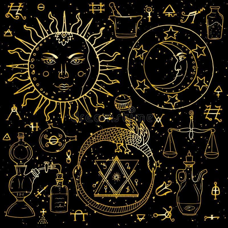 Солнце, луна, Ouroboros и философски камень с другим alch бесплатная иллюстрация