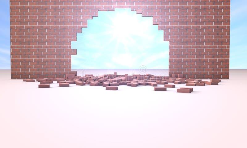 Солнце через отказ в стене иллюстрация вектора