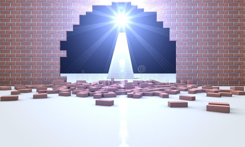 Солнце через отказ в стене иллюстрация штока
