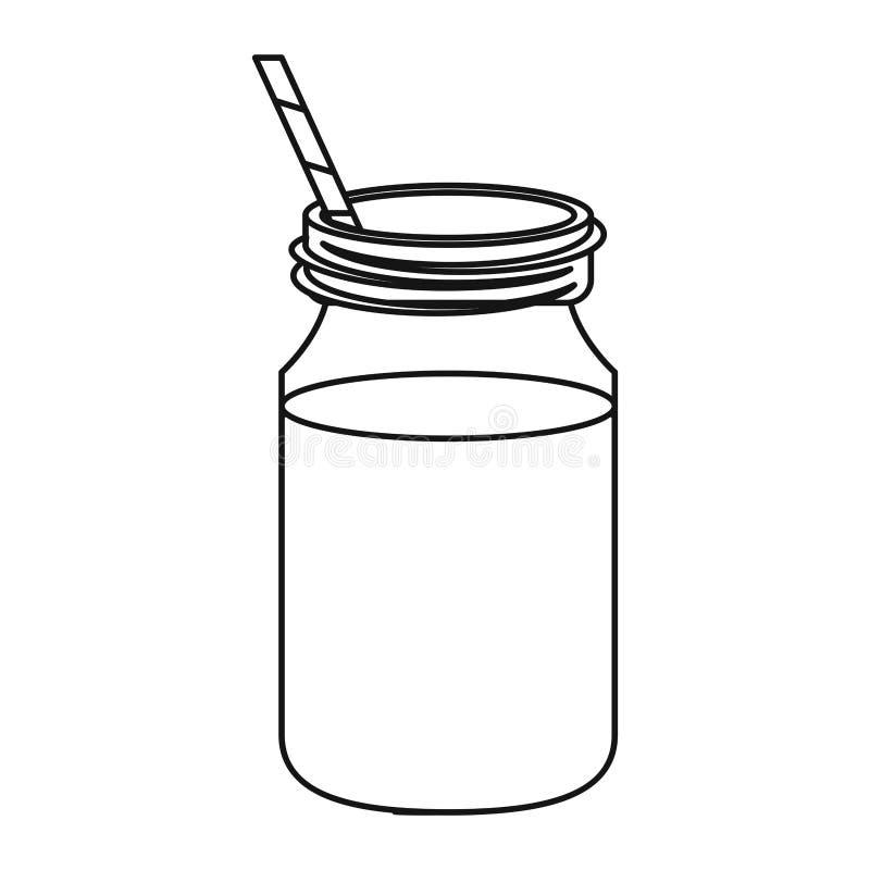 Солома опарника кофе стеклянная утончает линию иллюстрация вектора