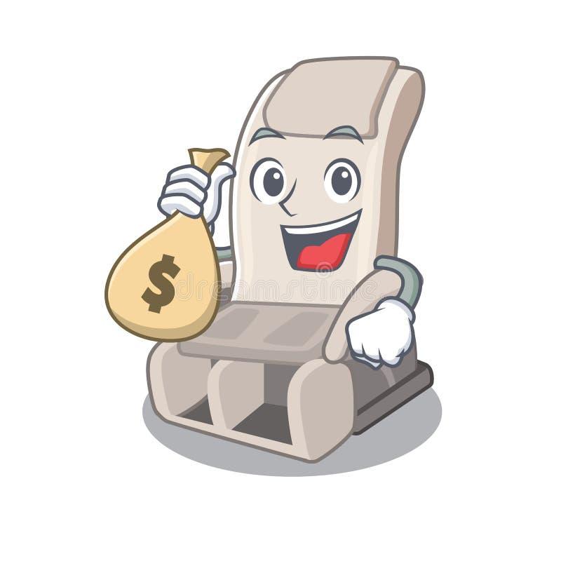 Со стулом массажа сумки денег изолированным в характере иллюстрация штока