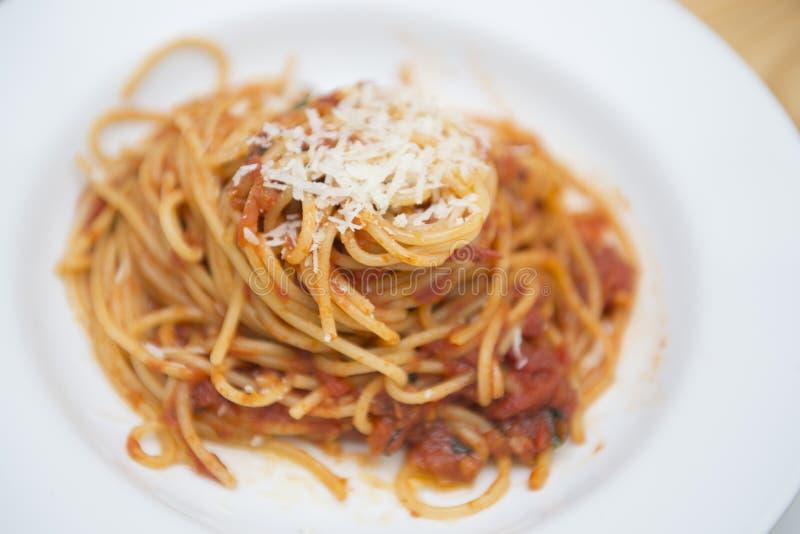 Спагетти и томатный соус стоковые фотографии rf