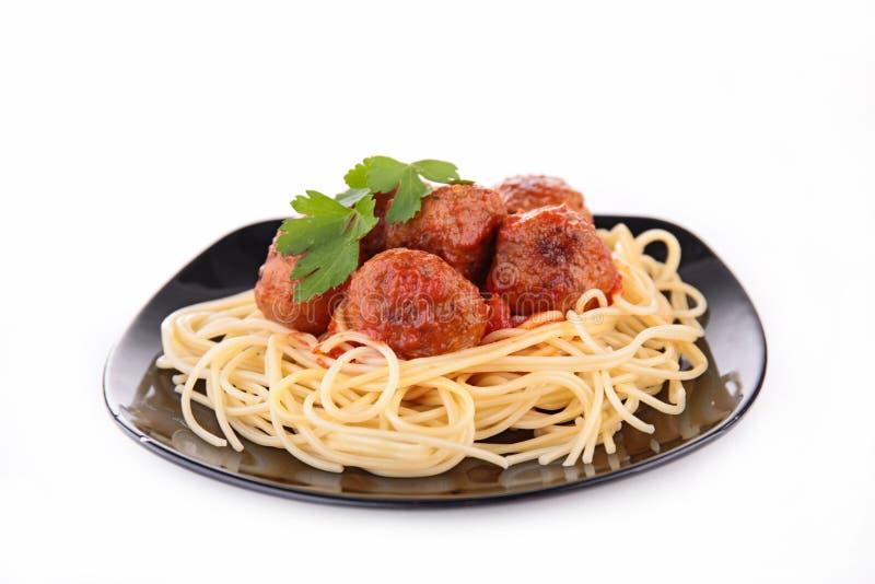 Спагетти и фрикадельки стоковое фото rf