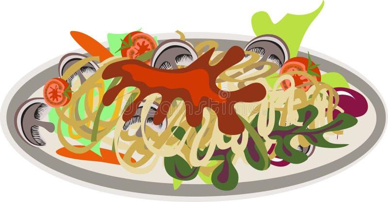 спагетти плиты грибов бесплатная иллюстрация