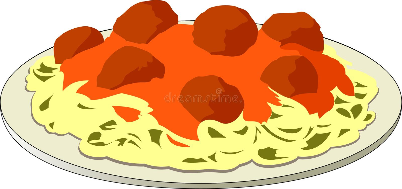 спагетти meatballs иллюстрация вектора