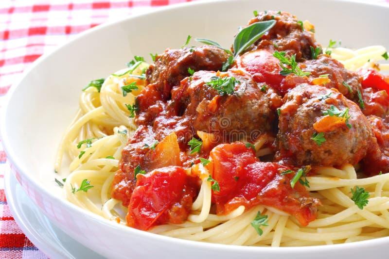 спагетти meatballs стоковое изображение