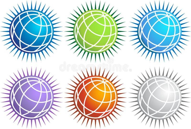 спайк иконы глобуса установленный бесплатная иллюстрация