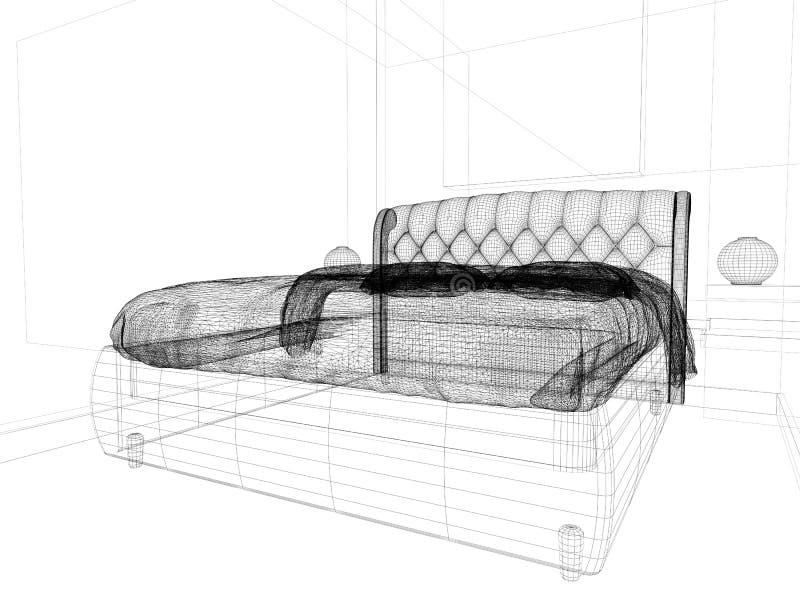 Спальня в современном интерьере в ярких цветах перевод 3 d бесплатная иллюстрация
